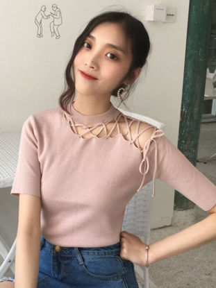 Picture of Women's Sweater Fashion Solid  Hollow Out O Neck Short Sleeve Knitwear- Size: Free