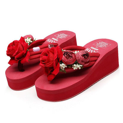 Picture of Women's Slippers Contrast Color Flower Flip Flops- Size: 37
