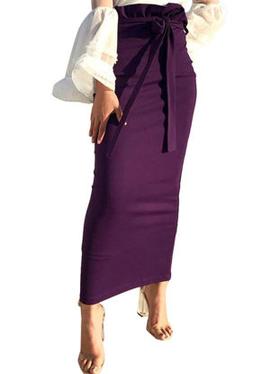 Picture of Women's A Line Skirt Solid Color Slim High Waist Skirt- Size: L
