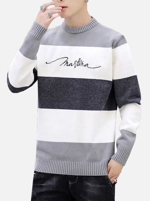 صورة Men's Sweater Letter Long Sleeve Casual Knitwear- Size: XXL