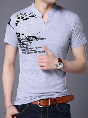 Picture of Men's Polo Shirt Stand Collar Print Short Sleeve Polo Shirt- Size: 3XL