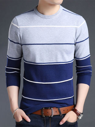 صورة Men's Sweater O  Neck Long Sleeve Striped Color Block Casual Pullover- Size: XL
