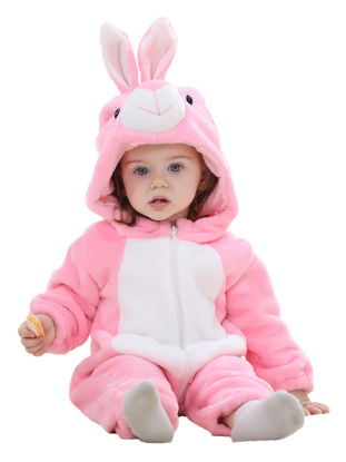 Picture of Baby Baby Girl's Jumpsuit Cute Rabbit Sculpt Flannel Long Sleeve Comfy Breathable Warm Hooded Romper- Size: 66cm