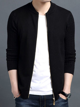 صورة Men's Cardigans Solid Color All Match Fashion Casual Knitwear- Size: XXL