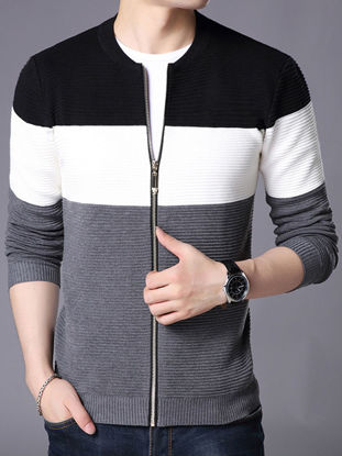 صورة Men's Cardigan Slim Color Block All Match Casual Knitwear- Size: M