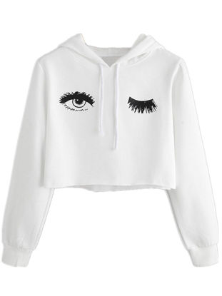 Picture of Women's Hoodie Long Sleeve Loose Leisure Comfy Eyelash Pattern Top- Size: L