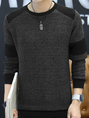 صورة Men's Fashion Sweatshirt Crew Neck Color Block Casual Sweatshirt- Size: XL