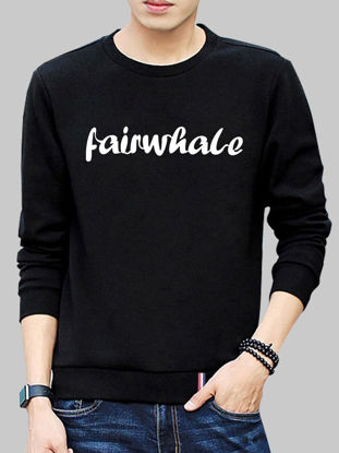 صورة Men's O Neck Thicken Sweatshirt Long Sleeve All Match Leisure Brushed Pullover- Size: XXL
