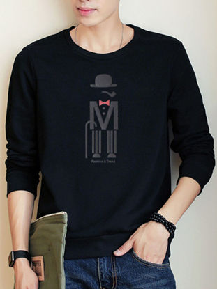 صورة Men's Slim Sweatshirt O Neck Long Sleeve Fashion All Match Leisure Pullover- Size: L