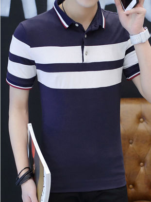 Picture of Men's Polo Shirt Color Block Striped All Match Fashion Top- Size: L