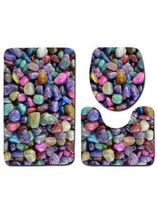 Picture of Floor Mats 3 Pcs Water Absorbing Cobblestone Pattern Home Linens