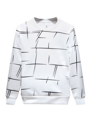 صورة Men's Geometric Printed O Neck Sweatshirt All Match Casual Long Sleeve Pullover- Size: 3XL
