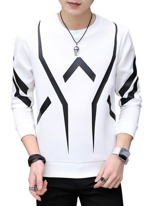 صورة Men's Sweatshirt O Neck Long Sleeve Print All Match Fashion Sweatshirt- Size: 3XL