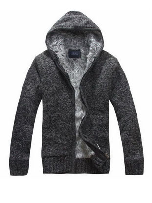 صورة Men's Cardigan Hooded Long Sleeve Solid Color Brushed Warm Knitwear- Size: XL