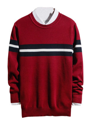 صورة Men's Pullover Long Sleeve Color Block Striped O Neck Knitwear- Size: XL