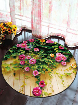 Picture of Bedroom Floor Mat Fresh Pastoral Style Flowers Pattern Round Mat- Size: 140*140(W*L)cm
