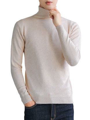صورة Men's Sweater Solid Color Long Sleeve Slim Knitwear- Size: XL