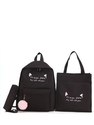 Picture of Girl's Backpack Set Cartoon Design Large Capacity Zipper School Bag- Size: One Size