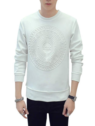 صورة Men's Sweatshirt Solid Color 3D Print Pattern Long Sleeve Sweatshirt- Size: XXL