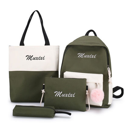 Picture of 4Pcs Women's Backpack Set Sweet Ladylike Colorblock Embroidery Back Bag Set- Size: One Size