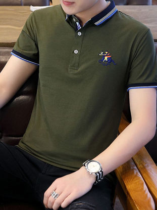 Picture of Men's Polo Shirt All-Match Short Sleeve Breathable Simple Top- Size: XL