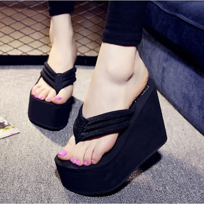 Picture of Women's Flip Flops Solid Color Wedged Platform Fashion Slippers- Size: 38