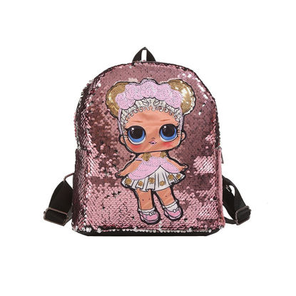 Picture of Kid's Backpack Fashion Character Sequins Decration Cartoon Large Capacity Bag- Size: One Size
