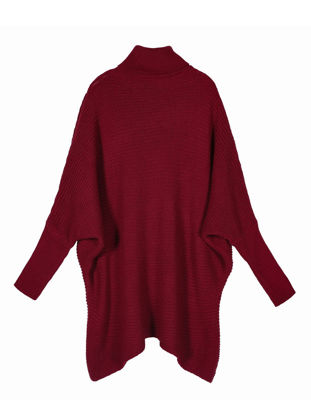 Picture of Women's Sweater Batwing Sleeve Turtle Neck Loose Knitwear- Size: XL