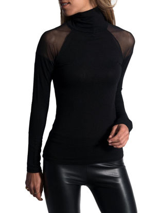 Picture of Women's T Shirt Turtle Neck Solid Color Patchwork Slim Top- Size: L