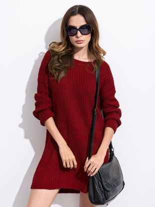 Picture of O Neck Solid Hem Split Sweater - Size: Free