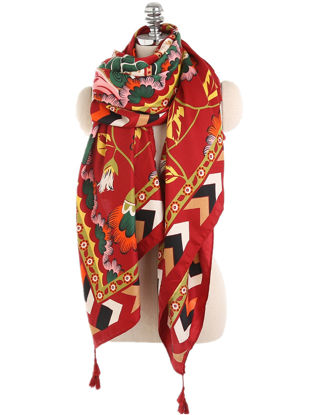 Picture of Women's Fashion Warm Scarf Retro Ethnic Style Geometric Flower All-Match Shawl - Size: Free
