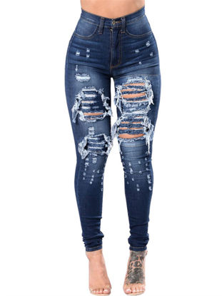 Picture of Women's Jeans Holes Decor Frayed High Waist Skinny Denim Pants - Size: XXL