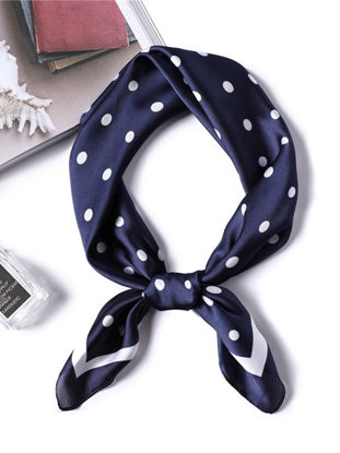 Picture of Women's Synthetic Silk Scarf Polka Dot Print Multi-Functional Square Scarf - Size: One Size