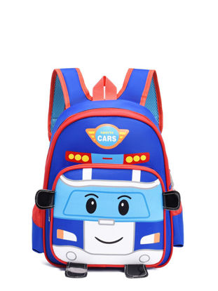Picture of Kid's Backpack Cute Cartoon Car Pattern Students PU Boy'sSchoolBag - Size: One Size