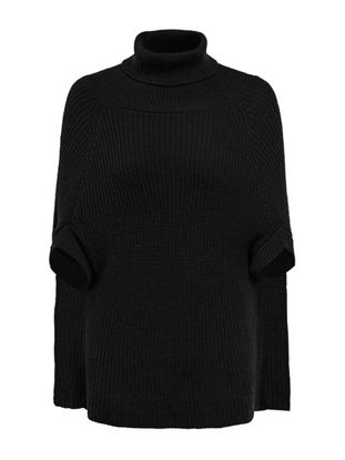 Picture of Women's Poncho Turtleneck Solid Color Loose Outerwear - Size: Free