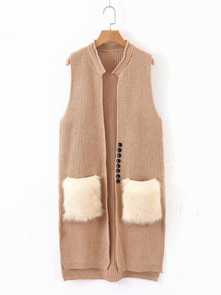 Picture of Women's Cardigan Open Front Solid Pocket Button Knitwear - Size: Free