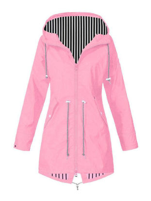 Picture of Women's Trench Coat Long Sleeve Striped Pocket Outerwear - Size: XXL