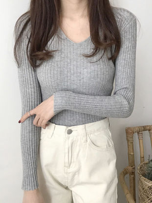 Picture of Women's Sweater V Neck Solid Color Long Sleeve Knitwear - Size: Free
