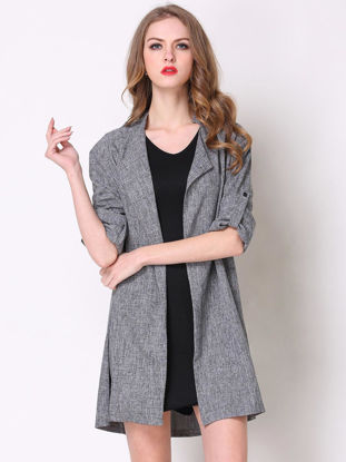 Picture of Plus Size Solid Half Sleeve Open Front Fashion Trench Coat - Size: 5XL