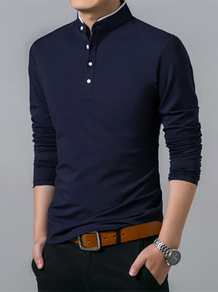 Picture of Men's Polo Shirt Solid Color Casual Light Weight Long Sleeve Polo Shirt - Size: M