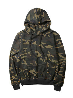 Picture of Women's Hoodie Long Sleeve Splicing Front Pocket Drawstring Camouflage Fashion Pullover - Size: 3XL