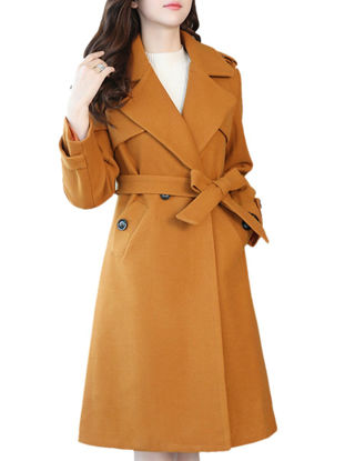 Picture of Women's Coat Solid Color Notched Collar Long Sleeve Sash Loose Coat - Size: XL