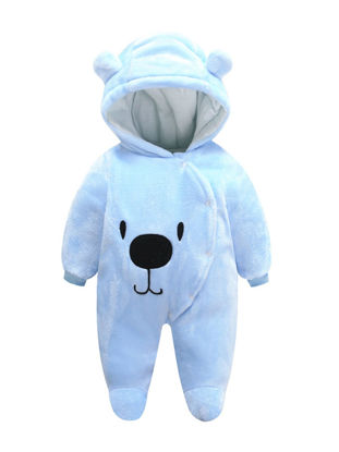 Picture of Baby Baby's Thicken Jumpsuit Cartoon Animal Warm Hooded Romper - Size: 80cm