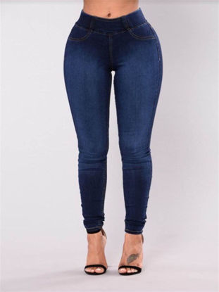 Picture of Women's Jeans Mid Waist Slim Fit Simple Style Casual Denim Pants - Size: M