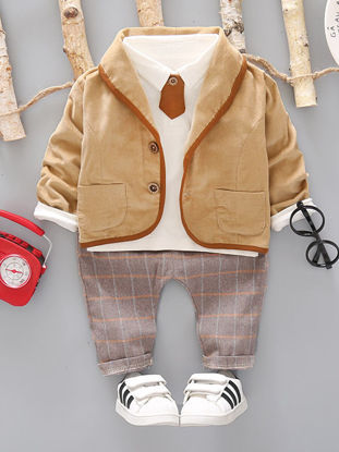 Picture of Toddler Boys Baby Boy's 3 Pcs Set Simple Style Shirt Jacket Checkered Pattern Pants Set - Size: 80cm