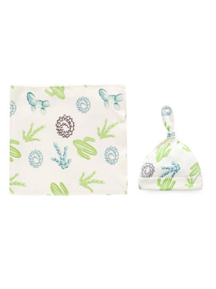 Picture of Baby's 2 Pcs Set Simple Print Pattern Comfy Breathable Swaddling Hat Set - Size: One Size