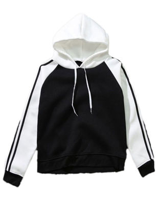 Picture of Women's Hoodie Color Block Long Sleeve Hooded Preppy Style Loose Hoodie - Size: XL