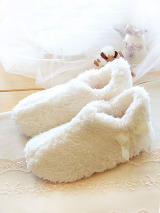 Picture of Home Slippers Solid Colour Plush Bowknot Cute Floor Warm Slippers - Size: 36-37