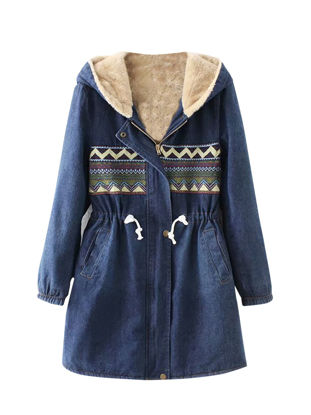 Picture of Women's Quilted Coat Geometric Color Block Drawstring Hooded Coat - Size: XXL
