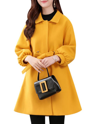 Picture of Women's Coat Solid Color Turn Down Collar Lantern Sleeve Outerwear - Size: 3XL